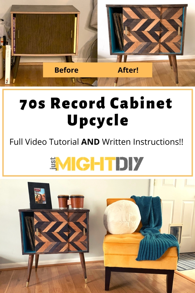Turn a 70s Record Cabinet into a modern piece that you won't stop staring at! Easy DIY with wood veneer and stain from Just Might DIY.